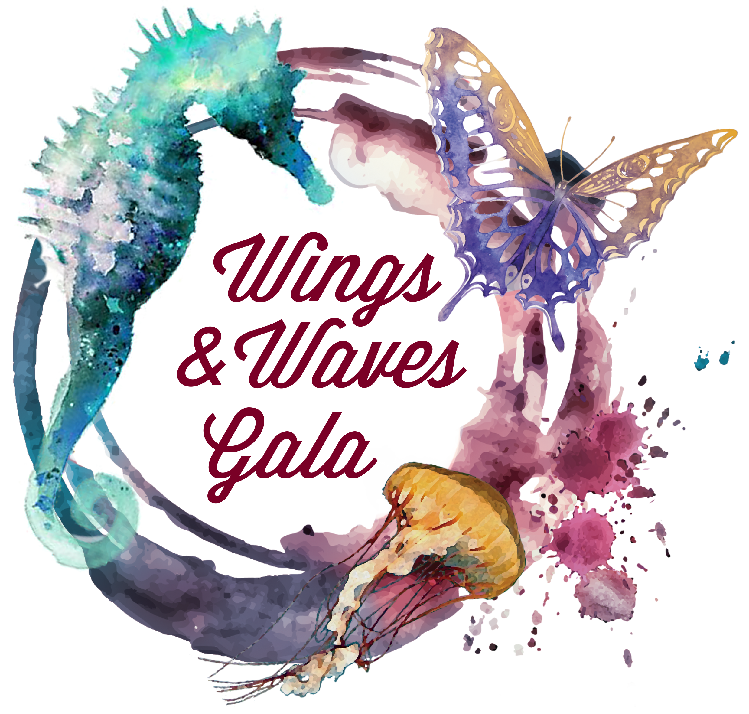 Wings and Waves Gala Logo seahorse butterfly jellyfish